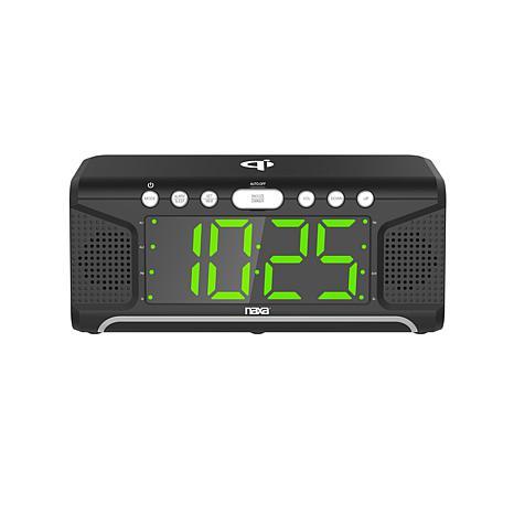 Naxa Dual Alarm Clock with Qi Wireless Charging Function