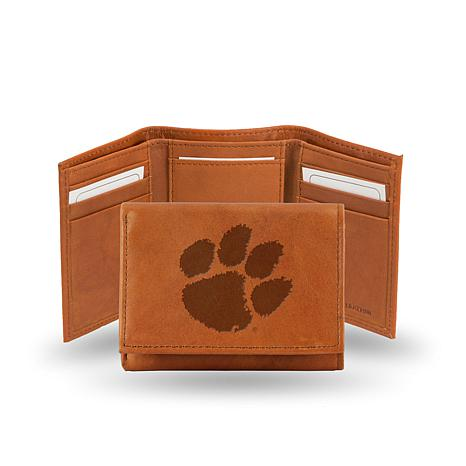 NCAA Embossed Leather Trifold Wallet - Clemson