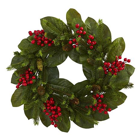 """Nearly Natural 24"""" Magnolia Leaf, Berry & Pine Artificial Wreath"""