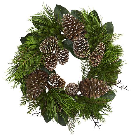 "Nearly Natural 28"" Pine Cone & Pine Wreath"