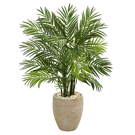 Nearly Natural 4 ft. Areca Palm Tree in Sand Colored Planter