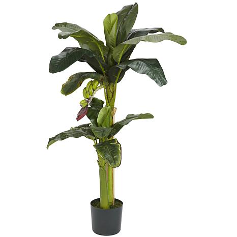 Nearly Natural 5 ft. + 3 ft. 2-Trunk Banana Tree with Bananas