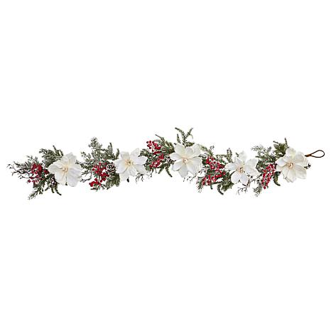 """Nearly Natural 60"""" Frosted Magnolia and Berry Artificial Garland"""
