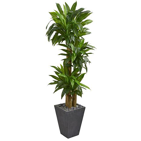 Nearly Natural Cornstalk Dracaena Artificial Plant in Slate Planter