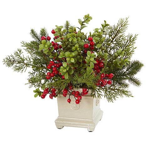 Nearly Natural Holiday Berry & Pine Artificial Arrangement