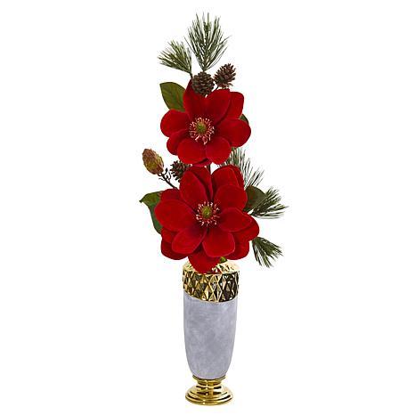 Nearly Natural Magnolia & Pine Artificial Arrangement in Designer Vase
