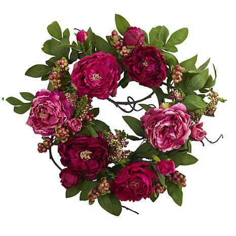 """Nearly Natural Silk Peony and Berry Wreath - 20"""""""