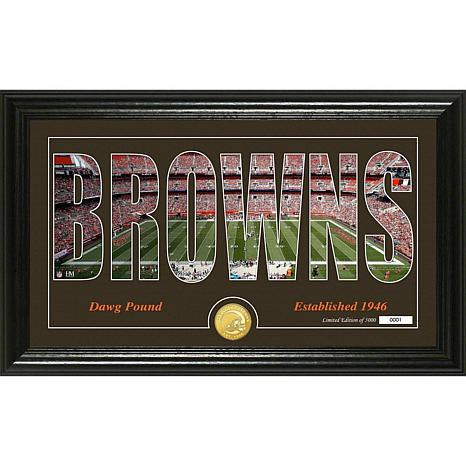 NFL Silhouette Panoramic Bronze Coin Photo Mint - Cleveland Browns