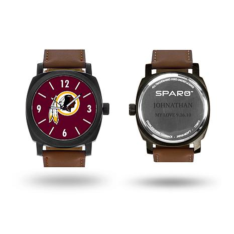 """NFL Sparo """"Knight"""" Faux Leather Strap Personalized Watch - Redskins"""