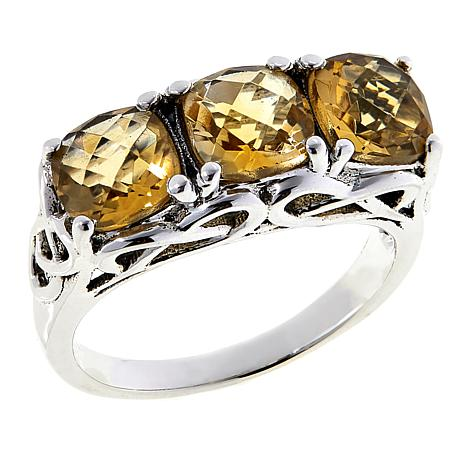 Nicky Butler 2.40ctw Citrine Cushion-Cut Trio Ring