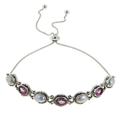 Nicky Butler 3.60ctw Cultured Pearl and Pink Topaz Oval Bracelet