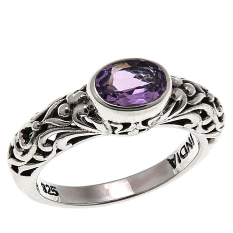 Nicky Butler .55ctw Amethyst East/West Oval Sterling Silver Band Ring