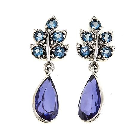 Nicky Butler 6.80ctw Sky Blue Topaz and Blue Quartz Leaf Earrings