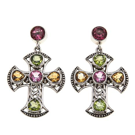 Nicky Butler Celtic Collection Pink Topaz and Multigem Cross Earrings
