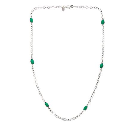 Nicky Butler Green Chalcedony Station Necklace