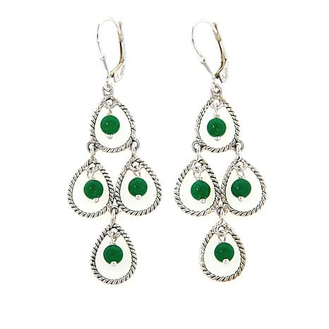 Nicky Butler Green Quartzite Bead Sterling Silver Chandelier Earrings