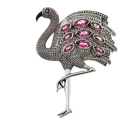 "Nicky Butler Pink Topaz and African Amethyst ""Flamingo"" Brooch"