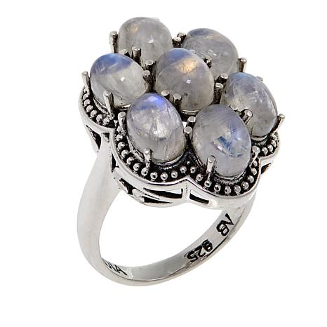 Nicky Butler Rainbow Moonstone Cluster Sterling Silver Ring