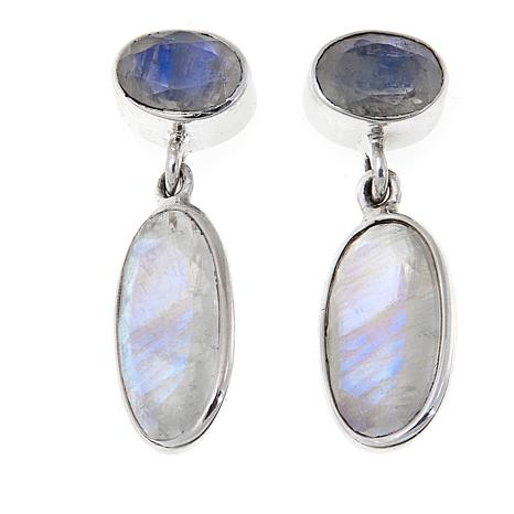 Nicky Butler 6 40ctw Rainbow Moonstone Sterling Silver Double Oval Drop Earrings