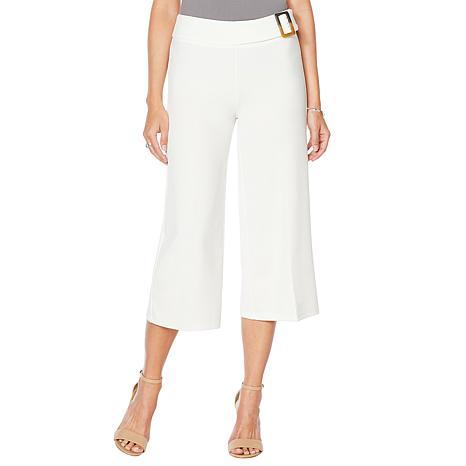 Nina Leonard Cropped High-Tech Crepe Wide-Leg Pant