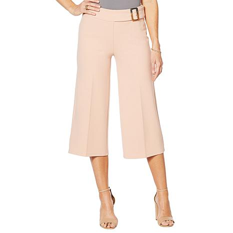 Nina Leonard Cropped High-Tech Crepe Wide-Leg Pant