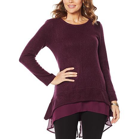 Nina Leonard Hi-Low Novelty Knit Sweater with Chiffon Hem