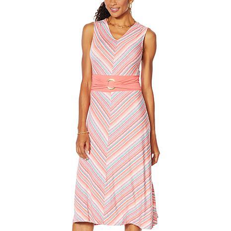 Nina Leonard Miter Stripe Stretch Midi Dress