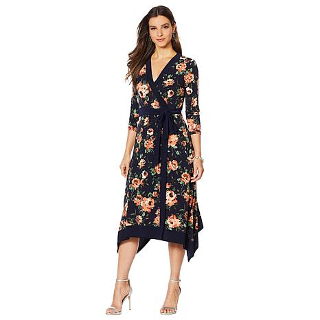 Nina Leonard Printed Miracle Matte Jersey Faux Wrap Dress
