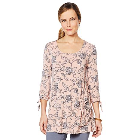 Nina Leonard Printed Tunic Top with Pocket