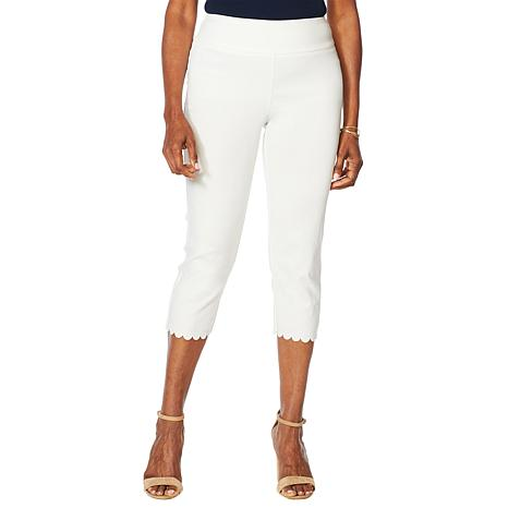 Nina Leonard Pull-On Scallop-Hem Cropped Pant