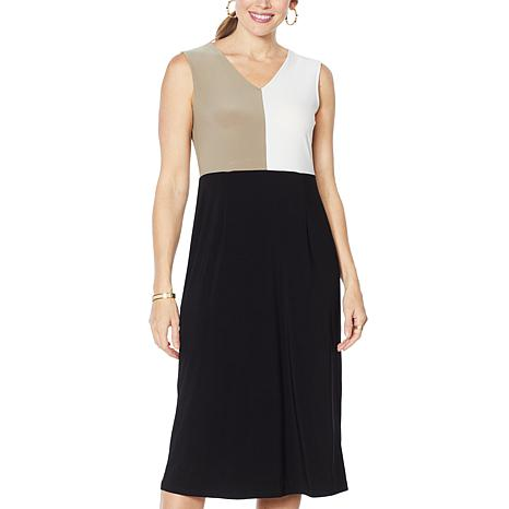 Nina Leonard Sleeveless Colorblock Midi Dress