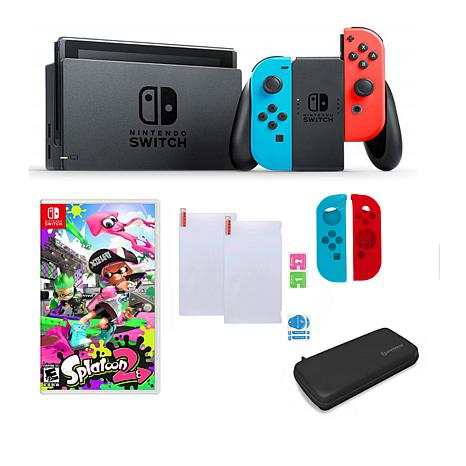 "Nintendo Neon Switch Bundle with ""Splatoon 2"" and Accessories"