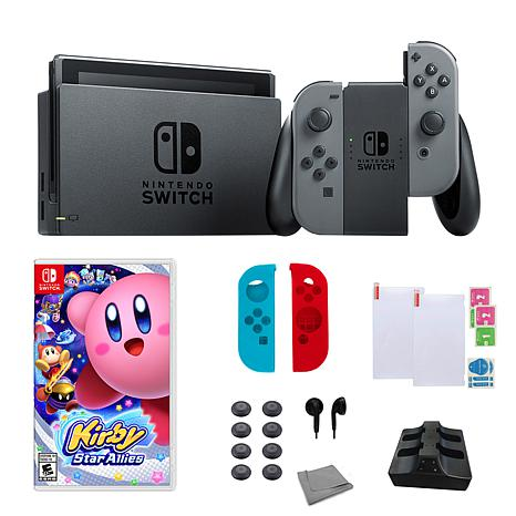 "Nintendo  Switch Gray Bundle w/Accessory Set and ""Kirby Star Allies"""