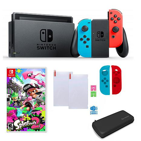 "Nintendo  Switch Neon Bundle with ""Splatoon 2"" and Accessories"