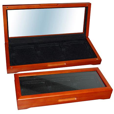Oak Display Box for 3 Slabbed Coins