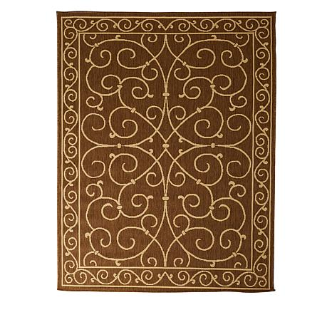 Oasis 5' x 7' Scroll Design Indoor/Outdoor Reversible Rug