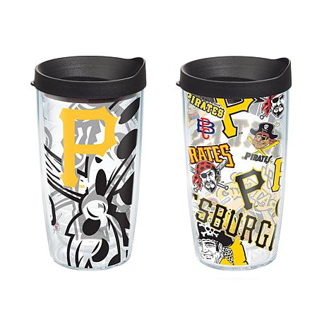 Officially Licensed MLB 16 oz. Tumbler Set w/Lids - Pittsburgh Pirates