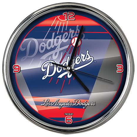 Officially Licensed MLB Shadow Chrome Clock - Dodgers
