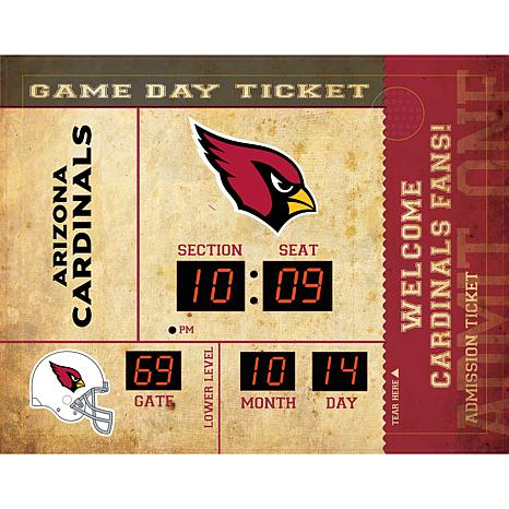 Officially Licensed NFL Bluetooth Scoreboard Wall Clock - Cardinals
