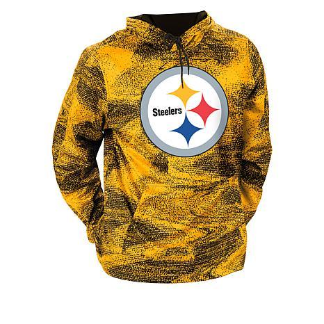 Team Color NFL Mens Zubaz Pittsburgh Steelers Slub Hood Pullover Hoodie Large