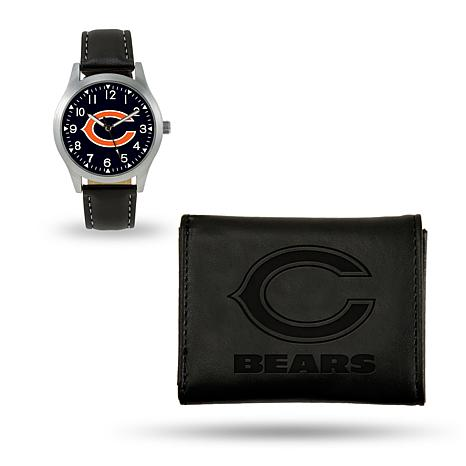ddb418057e38bb Officially Licensed NFL Trifold Wallet and Watch Gift Set in Black - Bears  - 8760250 | HSN