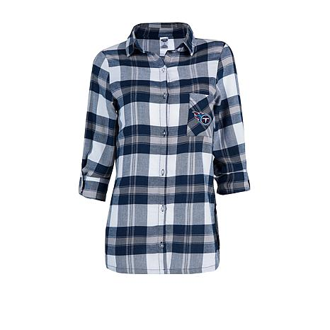 58523157 Officially Licensed NFL Women's Plaid Night Shirt by Concepts Sport - Titans