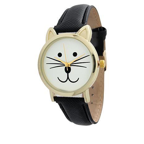 Olivia Pratt Goldtone Cat Faux Leather Strap Watch