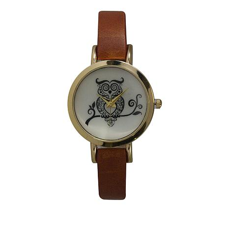 Olivia Pratt Goldtone Owl Dial Brown Faux Leather Strap Watch