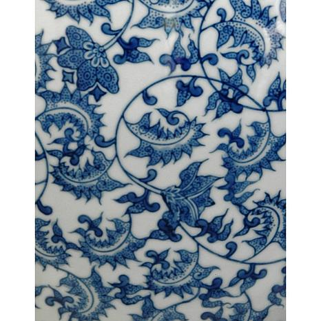 Oriental Furniture Floral Blue And White Porcelain Fishbowl
