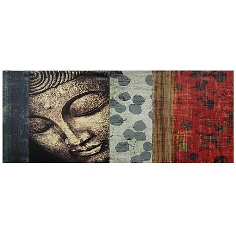 Oriental Furniture Peaking Buddha Canvas Wall Art