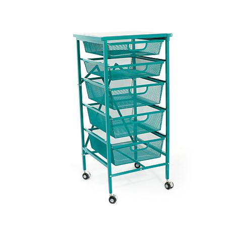 Origami 5-Drawer Cart with Wooden Top