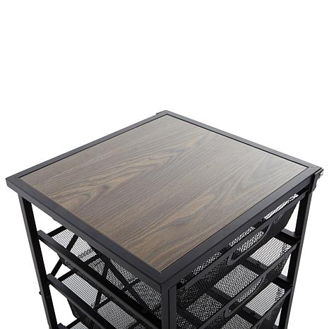 Origami 5 Drawer Kitchen Cart With Wooden Top   8271923   HSN
