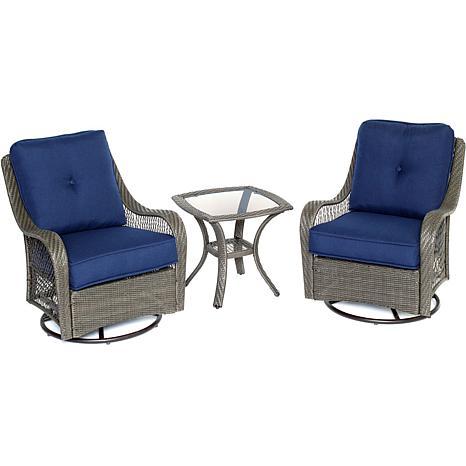 Orleans 3pc Gray Swivel Rocking Chat Set - Navy Blue