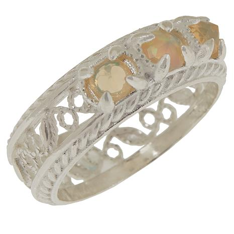 Ottoman Couture Exotic Gemstone Filigree Band Ring